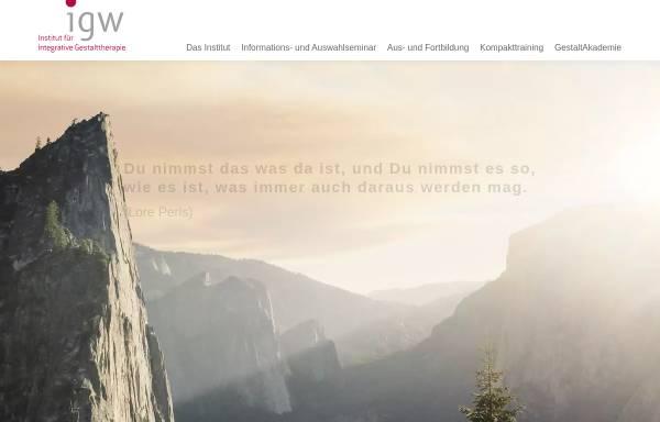 Vorschau von www.igw-gestalttherapie.de, Institut für Integrative Gestalttherapie GmbH