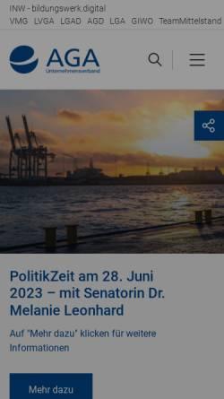 Vorschau der mobilen Webseite www.aga.de, AGA Unternehmensverband Großhandel, Außenhandel, Dienstleistung e.V.