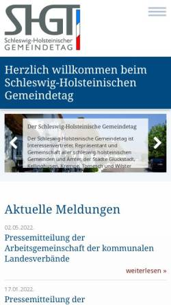 Vorschau der mobilen Webseite www.shgt.de, Kommunaler Arbeitgeberverband Schleswig-Holstein (KAV SH)