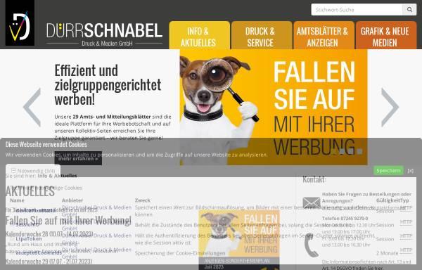 Vorschau von www.duerrschnabel.com, Dürrschnabel Druckerei und Verlag GmbH