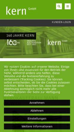 Vorschau der mobilen Webseite kerndruck.de, Kern GmbH