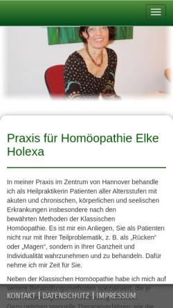 Vorschau der mobilen Webseite www.xn--homopathie-hannover-s6b.de, Heilpraxis für Homöopathie
