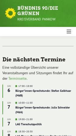 Vorschau der mobilen Webseite www.gruene-pankow.de, Bündnis 90/Die Grünen Pankow