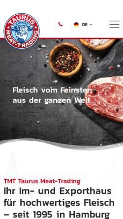 Vorschau der mobilen Webseite www.tmt-taurus.de, TMT Taurus Meat-Trading GmbH