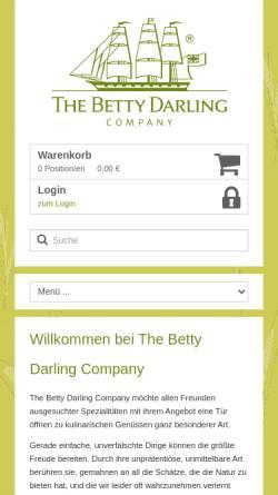 Vorschau der mobilen Webseite www.betty-darling.de, Betty Darling Tea Company Bremen