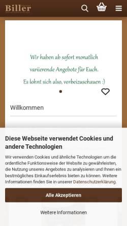 Vorschau der mobilen Webseite www.teefabrik.de, Biller Naturmittel Teefabrik