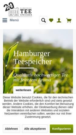 Vorschau der mobilen Webseite www.teespeicher.de, Hamburger Teespeicher GmbH