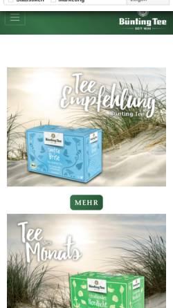 Vorschau der mobilen Webseite www.buenting-tee.de, Bünting Tee