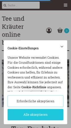 Vorschau der mobilen Webseite teee.de, Kräuter und Teeversand