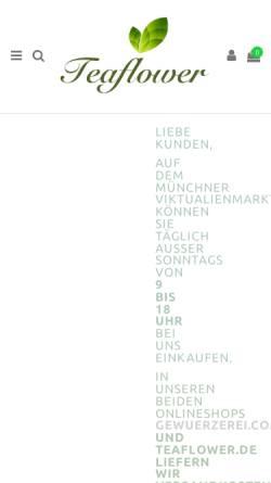 Vorschau der mobilen Webseite www.teaflower.de, Teaflower Teestand auf dem Viktualienmarkt
