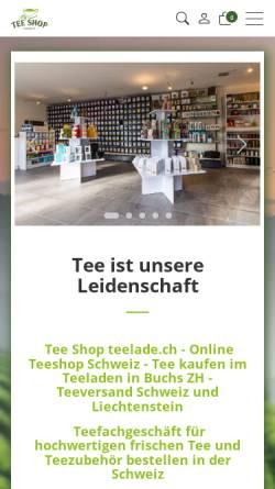 Vorschau der mobilen Webseite www.teelade.ch, Tee Shop teelade.ch GmbH