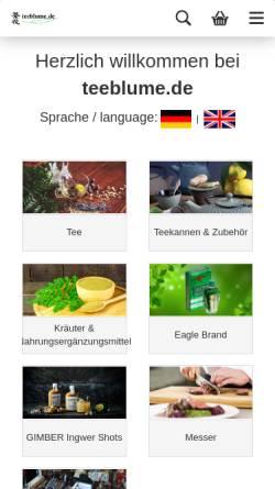 Vorschau der mobilen Webseite www.teeblume.de, Teeblume UG