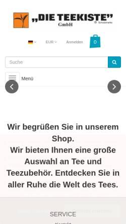 Vorschau der mobilen Webseite www.teekiste.com, Die Teekiste GmbH