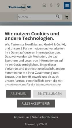 Vorschau der mobilen Webseite www.teekontor-nf.de, Teekontor Nordfriesland