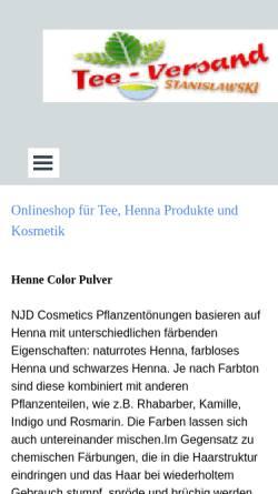 Vorschau der mobilen Webseite www.tea-versand.de, Teeversand Stanislawski, Roland Stanislawski