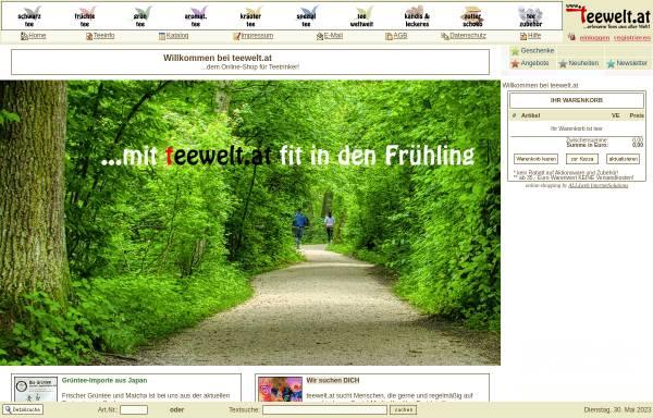 Vorschau von www.teewelt.at, teewelt.at - Versand von erlesenen Tees aus aller Welt