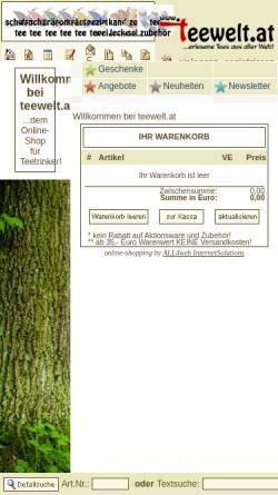 Vorschau der mobilen Webseite www.teewelt.at, teewelt.at - Versand von erlesenen Tees aus aller Welt