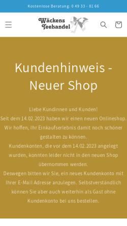 Vorschau der mobilen Webseite tee-aus-ostfriesland.de, Wäckens Teehandel, Berend Wäcken