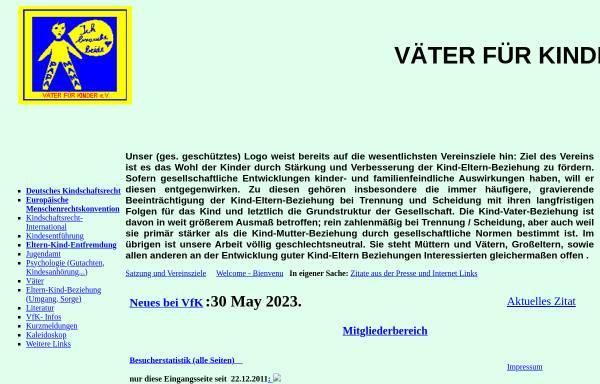 Vorschau von www.vaeterfuerkinder.de, Väter für Kinder e.V. - Homepage