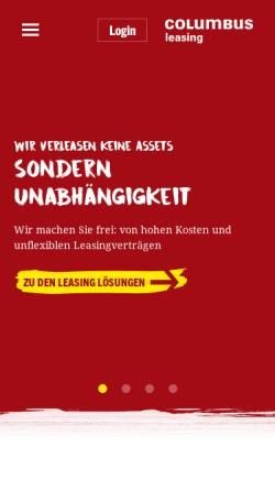 Vorschau der mobilen Webseite www.columbus-leasing.de, Columbus Leasing GmbH