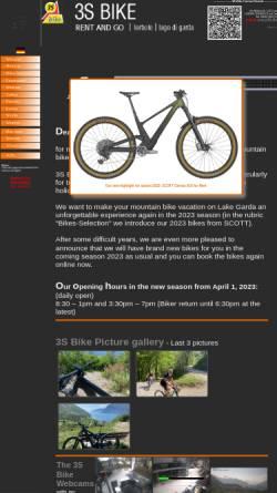 Vorschau der mobilen Webseite www.3s-bike.com, Mountainbike-Verleih in Torbole am Gardasee