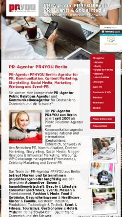 Vorschau der mobilen Webseite www.pr4you.de, PR-Agentur pr4you - Holger Ballwanz