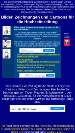 Vorschau der mobilen Webseite www.hochzeitscartoon.de, Bilder und Figuren für die Hochzeitszeitung