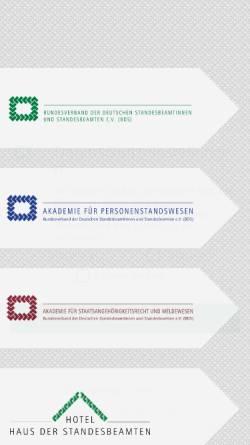 Vorschau der mobilen Webseite www.standesbeamte.de, Bundesverband der Deutschen Standesbeamtinnen und Standesbeamten e.V. (BDS)