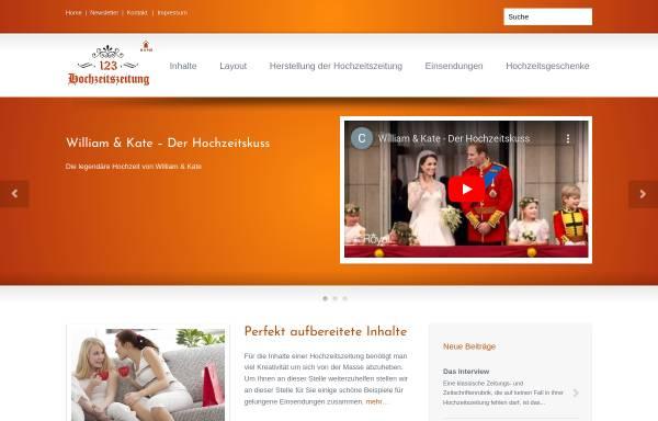 Vorschau von www.123-hochzeitszeitung.de, 123 Hochzeitszeitung