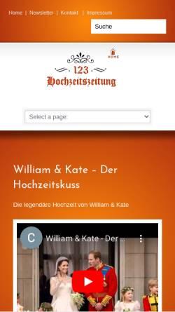 Vorschau der mobilen Webseite www.123-hochzeitszeitung.de, 123 Hochzeitszeitung