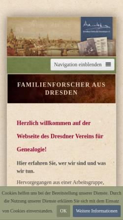 Vorschau der mobilen Webseite www.dresdner-verein-fuer-genealogie.de, Dresdner Verein für Genealogie e.V. (DVG)