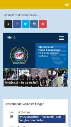 Vorschau der mobilen Webseite www.ipa-sachsen.de, International Police Association (IPA) - Landesgruppe Sachsen