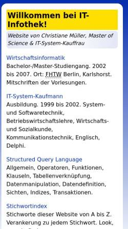 Vorschau der mobilen Webseite www.it-infothek.de, SQL: Structured Query Language