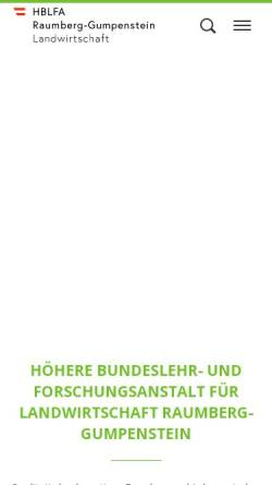 Vorschau der mobilen Webseite www.raumberg-gumpenstein.at, Höhere Bundeslehr- und Forschungsanstalt Raumberg-Gumpenstein