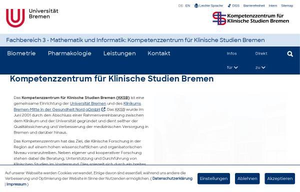 Vorschau von www.kksweb.uni-bremen.de, Kompetenzzentrum für Klinische Studien Bremen