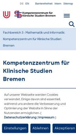 Vorschau der mobilen Webseite www.kksweb.uni-bremen.de, Kompetenzzentrum für Klinische Studien Bremen