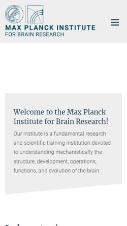 Vorschau der mobilen Webseite brain.mpg.de, Max-Planck-Institut für Hirnforschung Frankfurt/Main