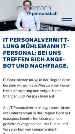 Vorschau der mobilen Webseite www.it-personal.ch, Mühlemann IT-Personal AG