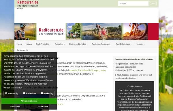 Vorschau von www.radtouren.de, Rad Touren - Onlinemagazin für Radreisende