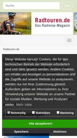 Vorschau der mobilen Webseite www.radtouren.de, Rad Touren - Onlinemagazin für Radreisende