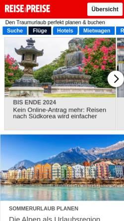 Vorschau der mobilen Webseite www.reise-preise.de, Reise-Preise.de