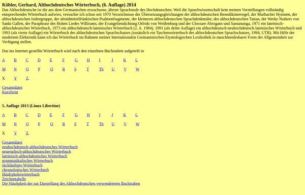 Vorschau von www.koeblergerhard.de, Althochdeutsche Wörterbücher
