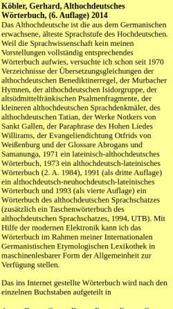 Vorschau der mobilen Webseite www.koeblergerhard.de, Althochdeutsche Wörterbücher