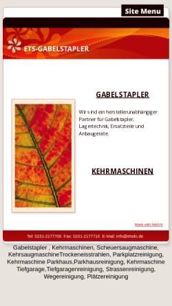 Vorschau der mobilen Webseite www.ets-gabelstapler.de, ETS - Gabelstapler Fink & Schmidt GbR