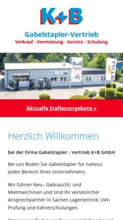 Vorschau der mobilen Webseite www.gabelstapler-vertrieb-kb.de, Gabelstapler-Vertrieb K+B GmbH
