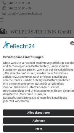 Vorschau der mobilen Webseite www.wolpers-technik.de, Wolpers-Technik GmbH Maschinen- und Apparatebau