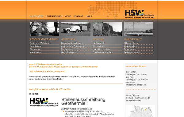 Vorschau von www.hsw-rostock.de, H.S.W. GmbH Ingenieurbüro für Angewandte und Umweltgeologie