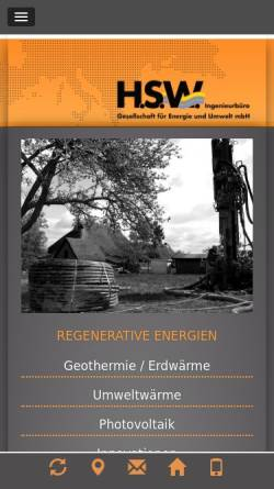 Vorschau der mobilen Webseite www.hsw-rostock.de, H.S.W. GmbH Ingenieurbüro für Angewandte und Umweltgeologie