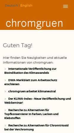 Vorschau der mobilen Webseite www.chromgruen.com, Chromgruen GmbH & Co. KG