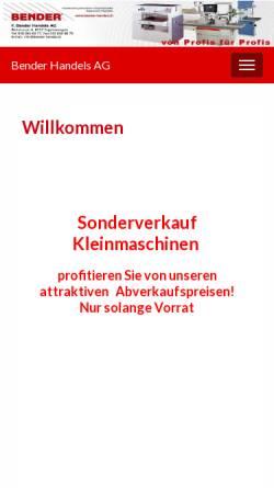 Vorschau der mobilen Webseite www.bender-handel.ch, F. Bender Handels AG
